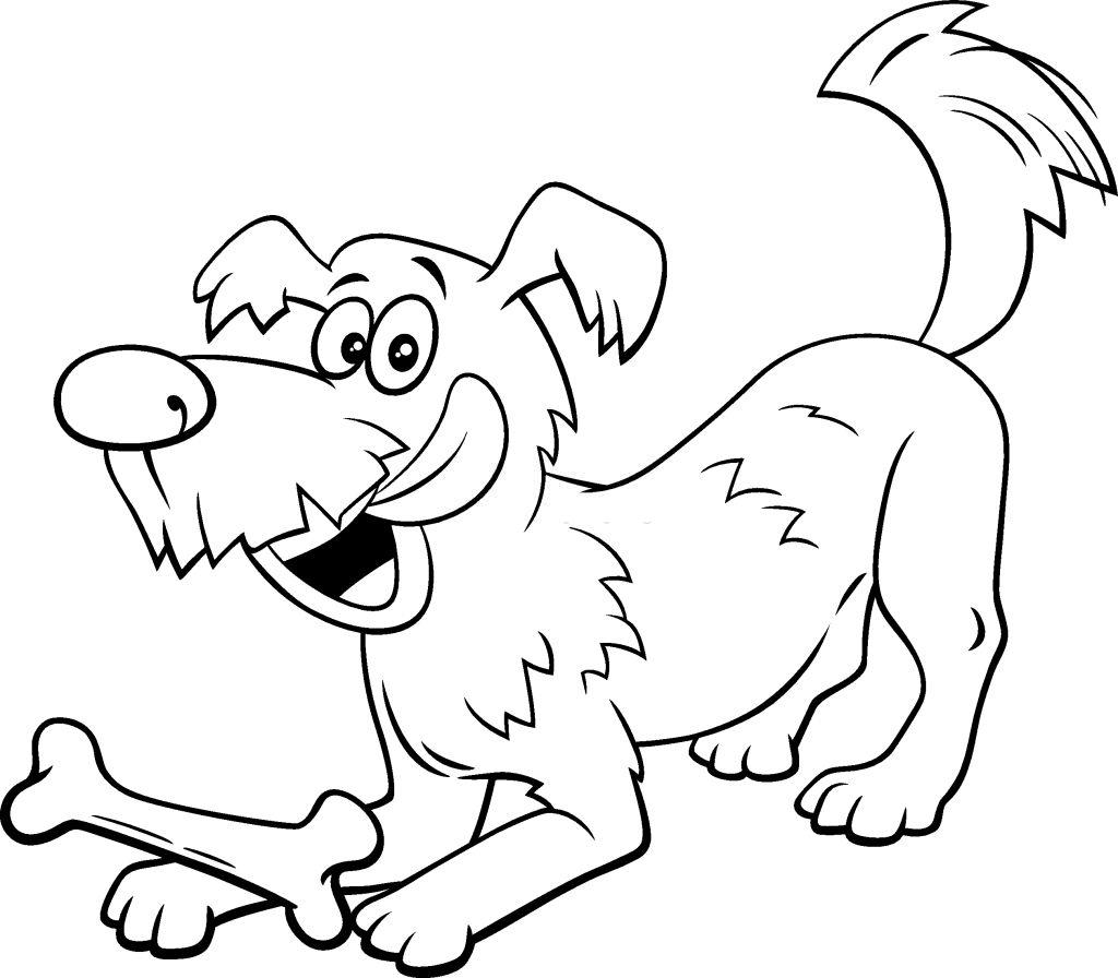 perro con hueso dibujo